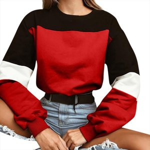 Autumn Fashion Patchwork Color Sweatshirts Womens Long Sleeve Sports Short Pullover O Neck Contrast Color Casual Top Harajuku Y3