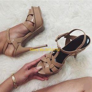 Candy Цвет Nude Черный лакированной кожи Крест Strappy Сандал Платформа T-Bar обувь высокой шпильке дамы платье невесты обувь