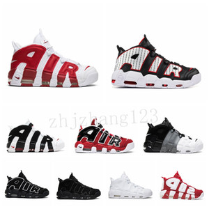 Nike Air More Uptempo [Avec Box] Cheap Blanc Noir Plus Uptempo UP Tempo Basketball Chaussures Hommes Scottie Pippen Basketball Chaussures de sport espadrille BQ3