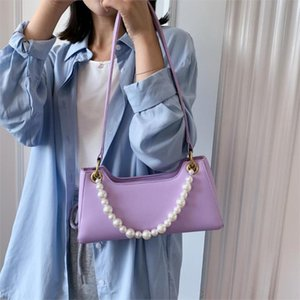 Fashion Beaded Women Handbag Small PU Leather Shoulder Bags For Women 2020 Solid color Handbags Female Totes Hand Bag