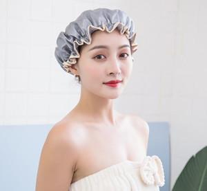 Duş çift katmanlı havlu su geçirmez kap PEVA kap kadın yağ geçirmez şampuan kalınlaşmış ev çok fonksiyonlu duman geçirmez banyo toz-pro htlb