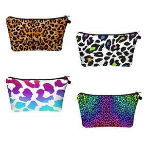 Leopard Impresso Cosmetic Bag Viagem Portáteis com Impressão Digital da composição bolsa sacos de armazenamento Organizer bolsa de viagem Wash Bolsas EWD1100