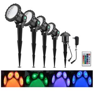 Набор 4 RGB Подводный прожектор Сад Декоративный пруд Пейзаж Открытый двор свет лужайки 36LED Погружной лампа с дистанционным управлением