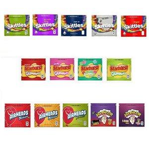 Skittles Warhead Starburst Airhead Gummies Майларовый сумка 400мг 408mg Пустой Edibles пакет молнии чехол для хранения для сухой травы табака