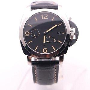 고품질 팸 남자 시계 클래식 시계 46mm 대형 다이얼 사파이어 미러 자동 기계 운동 가죽 스트랩 클래식 남자 손목 시계