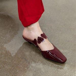 kmeioo dolce diapositive mulattiere donna gattini punta pattini di vestito estivo a forma di cuore pantofole mule sandali poco profondi quadrati