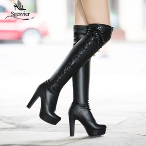 Sgesvier 2020 new fashion thigh high over the knee boots round toe lace up warm autumn winter boots thick high heels shoes G668