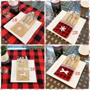 4 style Christmas knife and fork bag Burlap Lace Utensil Holders Bags many color offer choose