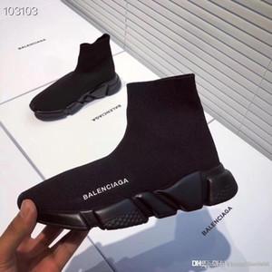 Orijinal kutusu Lüks Moda örgü mektup Çorap Ayakkabı Sneakers Hız Düz Trainer ayakkabı Erkek ve Kadın Casual Stretch çorap çizmeler