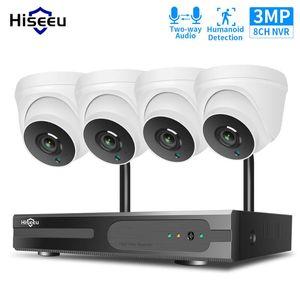 Hiseeu 1536p 1080P HD اتجاهين الصوت CCTV الأمن كاميرا نظام كيت 3MP 8CH NVR كيت داخلي المنزل اللاسلكية واي فاي المراقبة الفيديو