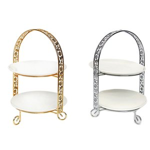 Metal Cake Stand Double-Layer Arch-Shaped Golden Fruit Dessert Rack Wedding Birthday Party Decoration Cupcake Stand