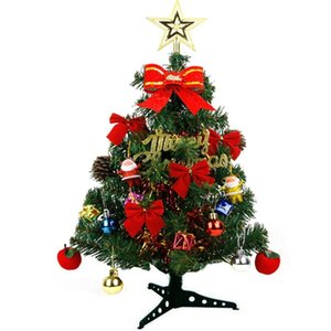 30cm 45cm 60cm Height Artificial Plastic Christmas Pine Tree with Led string light Tabletop Ornaments Gift