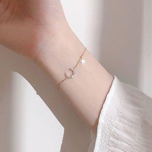 Süße S925 Stamp-Silber-Farben-Mond-Stern-Charme-Armband Dainty Micro KubikZircon Anhänger Armband für Frauen Geschenke Schmuck S-B342