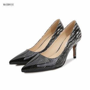 New pattern shoes woman Superior quality sexy Serpentine ladies shoes 8CM Thin Heels Fashion Show Femmes 4-14 15 MAIERNISI