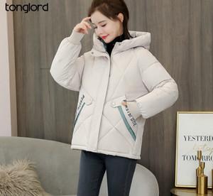 Tonglord 2020 Новое вниз ватник Женщины Короткие корейский Сыпучие Padded Jacket моды с капюшоном толстый зимний