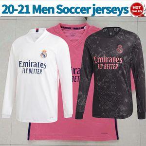 Las mangas largas 2021 reales de los jerseys del fútbol de Madrid de distancia de color rosa PELIGRO BENZEMA 20/21 Hombres Inicio tercera ZIDANE KROOS completo de la manga camisetas de blancos