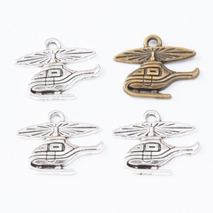 100pcs 16*20MM Antique bronze Vintage silver helicopter plane charms aircraft pendants for bracelet necklace earring diy jewelry