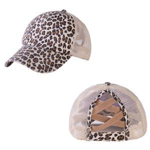 US Stock Leopard Camouflage Ponytail Snapbacks Sports Caps Hats Criss Cross Back Baseball Caps Summer Sun Visor Headwears Home Party Hat