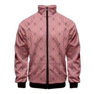 Erkek Ceket Moda 3D baskı Standı Yaka Fermuar Ceket erkek / kadın Kimetsu hiçbir Yaiba uzun sweatshirt'ü Casual Ceketler giysiler manşonlu harajuku