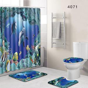 4Pcs Bath Mats + Shower curtain Carpets Ocean Underwater World Anti Slip Bathroom Mat Set Floor Bath Mats Bathroom Toilet Rugs