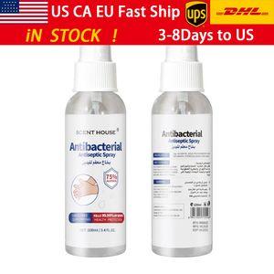Livre UPS 100ml garrafa de casa pulverização antibacterianas 75 graus de álcool spray de mãos-livres álcool desinfecção e escritório