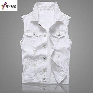 MKASS Vintage Design Veste Denim Homme Homme Couleur Blanc Slim Fit manches Vestes Homme trou Brand Jeans Taille Plus Waistcoat 5XL dfQi #