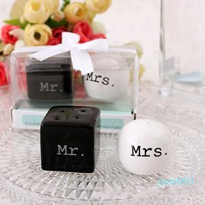 Куб Цилиндр Ceramic г-жа солонка Белый Черный шейкер инструменты кухни сувениры партии свадьбы пользу подарка 100sets (2шт / комплект)