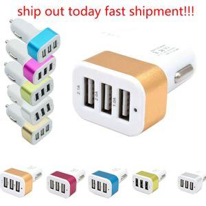 아이 패드 충전기 모바일 아이폰을위한 새로운 USB 차량용 충전기 3 포트 전화 충전기 어댑터 소켓 2A 2.1A 1A 자동차 스타일링 3 USB 충전기 범용