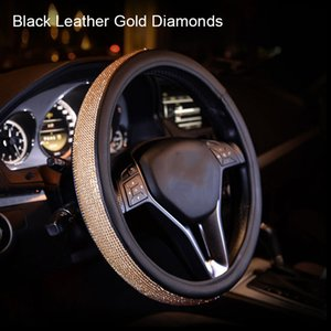2020 Car Steering Wheel Sparkled Cover Rhinestones PU Leather Skidproof for Driving CSL88