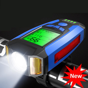 USB Bicycle Light Lamp Bike Computer Speedometer 5 Mode Horn Cycle Bike Speedometer LED Front Light Cycling Headlight