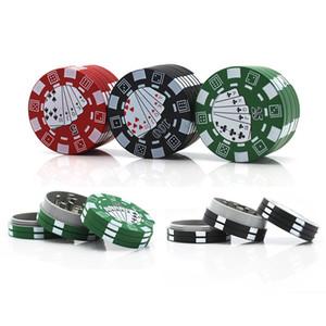 chip di stile di poker 40 millimetri 3 parti dell'erba smerigliatrice alluminio tabacco frantoio accessori fumo del DHL trasporto veloce