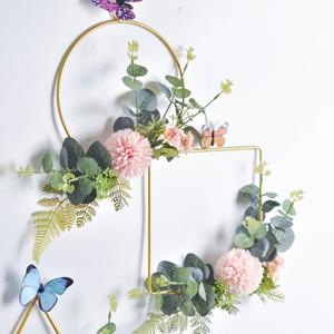 Cilected Blumen Hoop Kranz Geometrischer Draht Runde Dreieck Quadrat Hoop Feld Der künstlichen Blumen für Hochzeit Kulisse Wand-Dekor