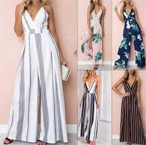 Mode féminine Wide Leg long pantalon Flora pantalon rayé jarretelle femme manches Vêtements de Boutique Dans l'ensemble Bas LY8035
