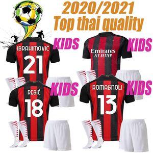 KIDS Chicos nuevos AC PEGA jerseys 2020 2021 Milan del fútbol fijado IBRAHIMOVIC 20 21 piątek Paquetá THEO REBIC camisetas de los niños kits uniformes