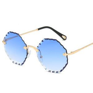 New diamond trimming sunglasses female creative crystal square frameless sunglasses UV400 luxury metal HD glasses with box top quality
