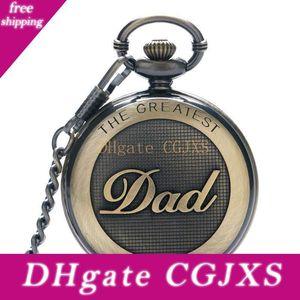 Pai '; Colar S Day Gift Super Dad Pocket Watch Bronze Fob Quartz 30cm 80 centímetros Cadeia presentes Pingente Mens Relógios lembrança para homens Dad F