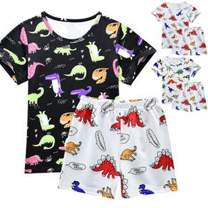 Dinosaurio de manga corta pijama de niños SAILEROAD Conjunto de dibujos animados de los niños Pijamas de seda de la leche Niños Ropa de algodón Girls Home desgaste del juego