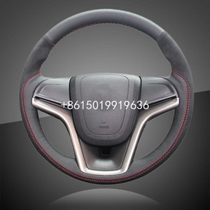 Hand Stitched Auto Braid On Steering Wheel Cover for Chevrolet Malibu 2011-2015