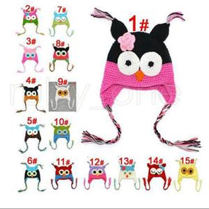 Children Cartoon Warm Toddler Owl Ear Flap Knitted Hats Infant Baby Handmade Crochet Cute OWL Beanies Party Hats Supplies RRA3467