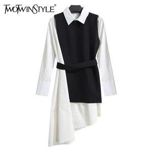 TWOTWINSTYLE Shirt Dress Women's Suit Two Piece Set Long Sleeve Lace Up Black White Asymetrical Vest Dress Female Clothes Korean 200925