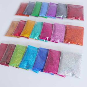 Rikonka 21pcs Poudre d'ongles holographiques Sug sucre brillant 10g / sac ongles scintille Vente chaude Poudre de poussière pour décorations d'art