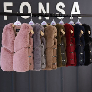 Kız bebekler için Yeni Çocuk Sahte Yelek Coat Kalınlaşmak Deri Ceket Moda Çocuk Fox Kürk Yelek Noel Giyim Isınma