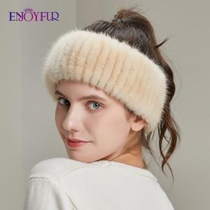 ENJOYFUR women winter headbands real knitted elastic bands for girl fashion luxury female warm hair accessories 2020