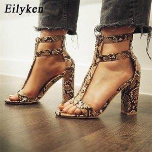 Eilyken saltos altos Women Sandals Serpentine Zipper Salto Alto Sandals Gladiator Sandals Fashion Lady Partido Sexy calça o tamanho 35-42 0925