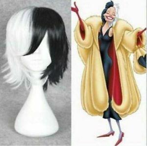 Details about 101 Dalmatians Cruella De vil Short Straight Black and White Hair Cosplay Wig