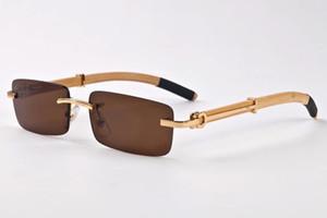 Luxury-brand designer rimless sunglasses for men 2017 fashion wood bamboo retro buffalo horn glasses brown black clear glass lens11
