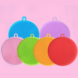 Round Silicone Reusable Silicone Bowl Cleaning Brush Scouring Pad Pot Pan Wash Dishcloth Kitchen Washing Brush Fruit Duster Cloth AAB1087