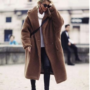 Donna New Fashion inverno oversize lunghi cappotti cammello di alta qualità Faux Fur Jacket Fuzzy Brown Shaggy Coat