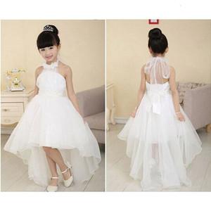 Süße elegante Blumen-Mädchen-Prinzessin-Kleid-Kind-Partei-Festzug Hochzeit Brautjungfer Tutu-Kleid reine weiße Farbe 21. Juli