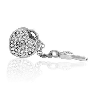 20pcs Lot Fashion Rhinestone Lock & Key Alloy Metal Beads for Jewelry Making DIY Beads for Bracelet Wholesale in Bulk Low Price REB49